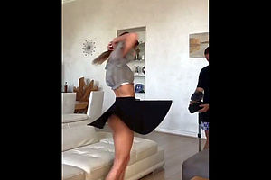 Cutie dancing and flashing her..
